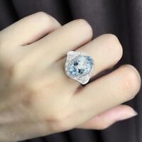 Frauen stilvolle natürliche Aquamarin Ring Legierung Anhänger Schmuck Ring N3I6