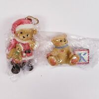 "1995 CHERISHED TEDDIES BEAR DRESSED AS SANTA & ABC""K"" BLOCK CHRISTMAS ORNAMENTS"