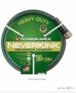 NEVERKINK 50FT 5/8 Diameter Green Garden Hose Heavy Duty MADE IN USA! FREE SHIP!