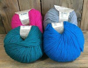 Knitting Yarn Wool Luxury Merino DK King Cole 4 x 50g Fuchsia Teal Cobalt Pewter