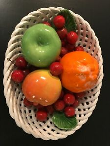 Bassano Ceramic Cherry Fruit Bowl Basket Weave Made In Italy
