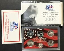 2004 SILVER PROOF SET STATE QUARTERES UNITED STATES MINT COINS MONEY