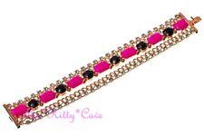 Splendido colore pop Neon Rosa E Nero Multi Catena Bracciale con cristalli Swarovski