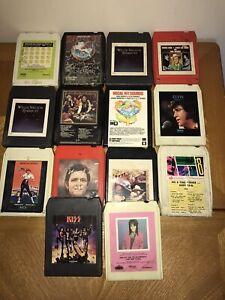 8 Track Lot of 14 Tapes; Elvis, Johnny Cash, Kiss, Joan Jett, Kenny Rogers, Etc