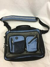 "LL Bean Blue Nylon Padded Laptop Computer Messenger Bag Handle Travel 14""x12""x5"""
