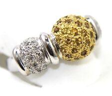 Natural Round Yellow Sapphire & Diamond Cluster Ring Band 18K White Gold .92Ct