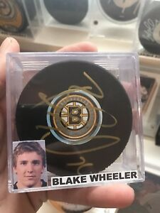 Blake Wheeler Boston Bruins Autographed Hockey Puck Signed Auto