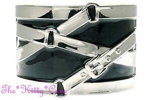 Burlesque Design Belted Belt Straps Chunky Silver & Black Enamel Hinged Bangle