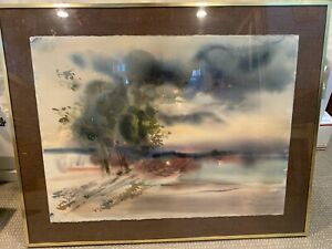 Original Framed Watercolor Painting Neutral Colors Abstract Landscape Signed 22