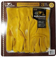Wells Lamont Premium Cowhide Leather Work Gloves 3 Pair Pack - Size XL