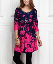 #287 Ladies Designer UK 22 / 24 Navy Blue & Fuchsia Floral Empire-Waist Tunic