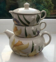 Vintage Tea For One Hadida Tea Pot Trio With Cup And Creamer. Floral