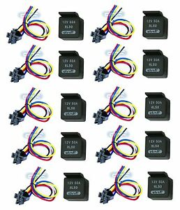 10 PAIR 50 AMP 12V BOSCH STYLE RELAY & HARNESS SOCKET SPDT + 100% COPPER WIRES