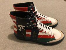 New Polo Ralph Lauren Solomon Canvas Shoes High Top USA Flag Ski Men's 11.5 D