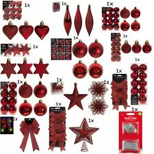 Christmas Tree Ornaments Red Baubles Star,Heart,Drops,Bows Hanging Xmas Decor