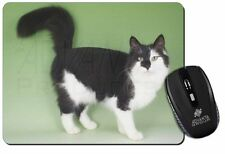 Black+White Norwegian Forest Cat Computer Mouse Mat Christmas Gift Idea, AC-104M