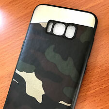 for Samsung Galaxy S8+ PLUS - Magnetic Backplate Camo Green Army TPU Rubber Case