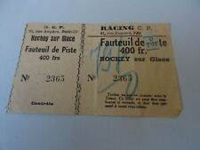 BILLET RACING PARIS 1950's HOCKEY SUR GLACE sport ticket france