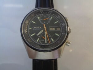Citizen Chronograph Mens Watch Day & Date Automatic Black Dial Side Crown Kanji