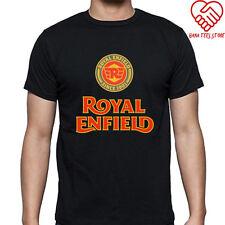 New Royal Enfield Logo Men's Black T-Shirt Size S to 3XL