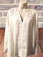 Calvin Klein Women's Blouse Size XL Long Sleeve V-Neck Textured Pullover Top