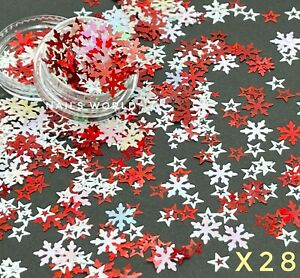 X28. Mix White Red STAR Nail Art Holographic 3D Glitter Sequins Xmas
