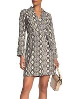 Tash + Sophie Women's Dress Beige Size 6 A-Line Snake Print Faux Wrap $109- #043