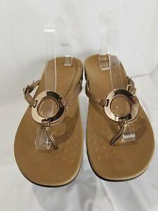 Vionic Karina Bronze Leather Gold Thong Sandals Women's Size 11