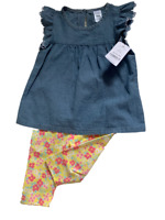 NWT Carters Baby Toddler 2 Piece Denim Eyelet Teacup Sleeve Floral Legging 18 mo