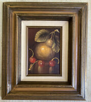 Vintage Oil Painting Signed Anthony Cherries Pear Fruit Still Life 5x7