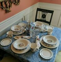 Vintage Mismatched 33 Piece China Set for 4 222 Fifth, Pfaltzgraff, Linen & More