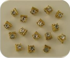 2 Hole Beads Mini Squares GOLD Made with Clear Swarovski Crystal Elements QTY 16