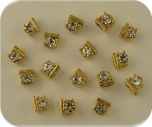 Clear Swarovski Crystal Elements Made With 2 Hole Slider Beads Gold Metal QTY 16
