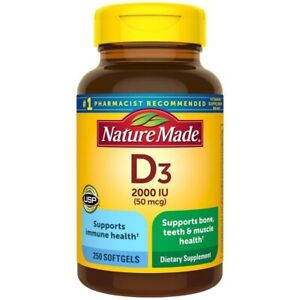Nature Made Vitamin D3 2000 IU (50 mcg) Softgels, 250 Count Free Ship