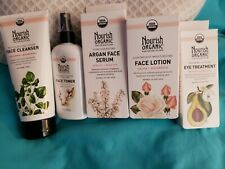 Nourish Organic 5 piece Face cleanse, toner,Argan Face serum, face lotion eye tr