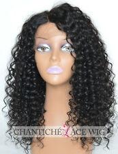 Curly Silk Top Lace Wigs Brazilian Remy Deep Parting Human Hair Wigs Black Women