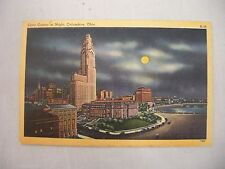 VINTAGE LINEN POSTCARD OF THE CIVIC CENTER AT NIGHT IN COLUMBUS, OHIO UNUSED