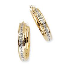 Ladies 14k YG Diamond Hinged Polished Hoop Diamond Fascination Earrings