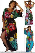 multi colorful dress M L XL OS 1X 2X maxi caftan cross over buttons short sleeve