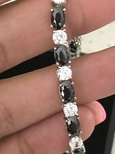 "Fine Jewelry sterling silver Tennis Braclet With Onyx Zirconia Stones 7"""