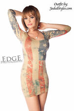 Patriotic American Usa Flag Distressed Red White Blue Fitted Seamless Mini Dress