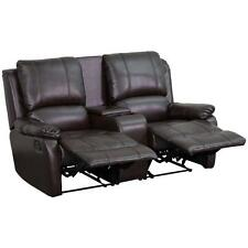 Brown Leather Recliner Loveseat Espresso Sofa Theater Seating Cup Holders Gaming