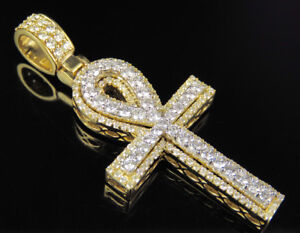 "Men's Real Diamond Ankh Cross Pendant Charm In 10K Yellow White Gold 2 1/4 CT 2"""