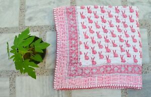 Indian Block Print Baby Quilt Kantha Throw Blanket Bedspread Toddler Baby Bed