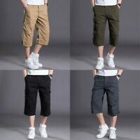 Mens Multi Pocket Capri Pants 3/4 Shorts Cargo Combat Trousers Summer Loose Grey