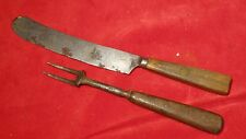 RARE REVOLUTIONARY WAR ERA KNIFE AND FORK WITH WOODEN HANDLES
