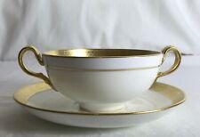 """Antique Art Deco Mintons H1346 Soup Cup / Coupe & Saucer 14cm ~5.5"""" Gold Rim"""