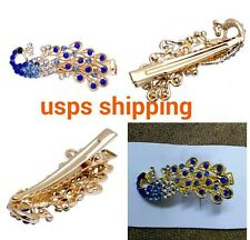 Retro Lady Girl's Full Crystal Rhinestone Peacock Barrette Hairpin Hair Clip