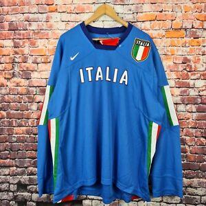 NIKE ITALY IIHF Ice Hockey Men's Size XL Blue Long Sleeve Jersey