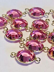 Open Bezel Austrian Swarovski Crystal Beads Pink Gold Tone 12mm 15 Piece